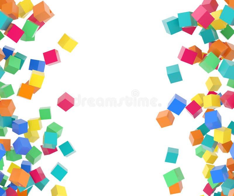 Élément multicolore de conception de cubes en vol illustration libre de droits