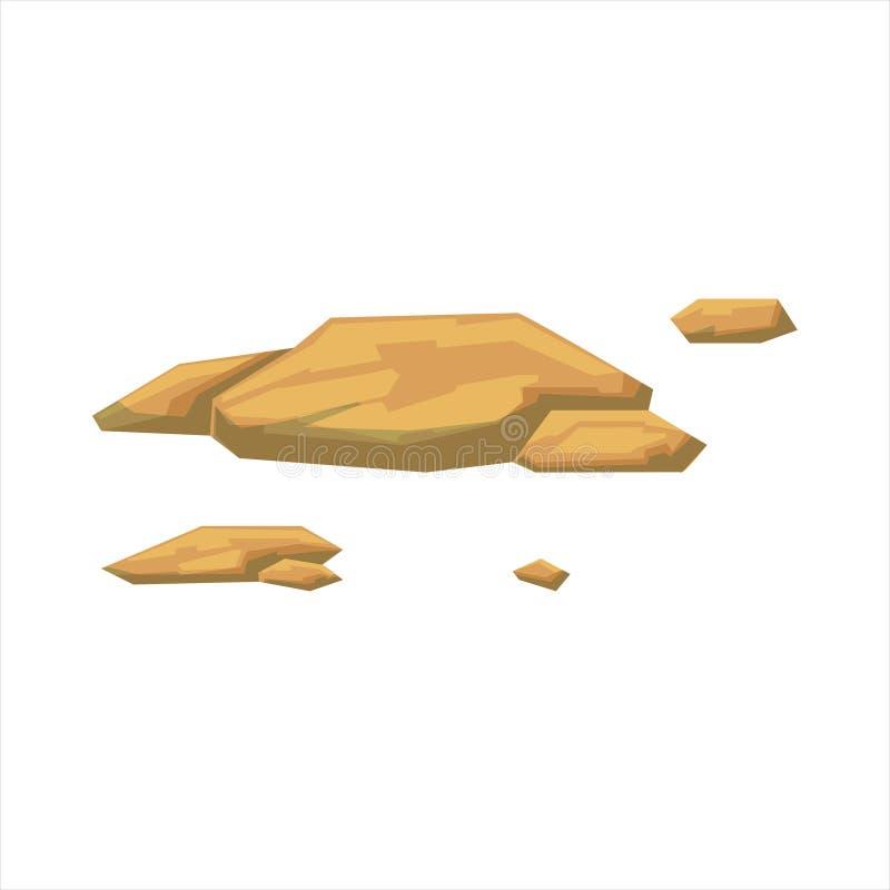 Élément naturel de conception de paysage de petites roches plates de jaune, une partie de paysage en nature aménageant le constru illustration stock