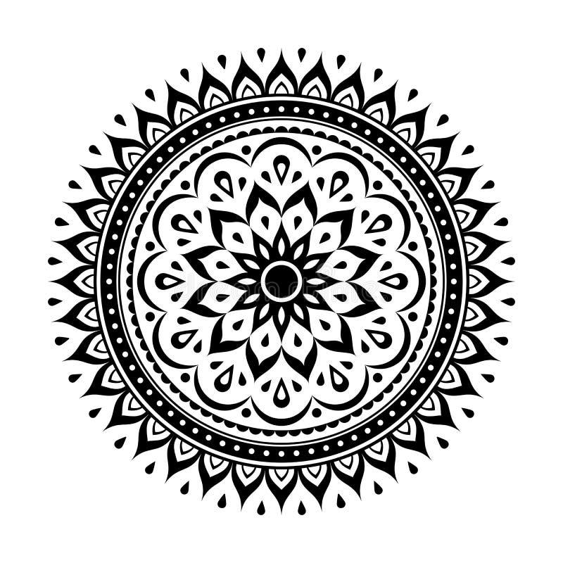 Élément noir de décoration de mandala illustration de vecteur