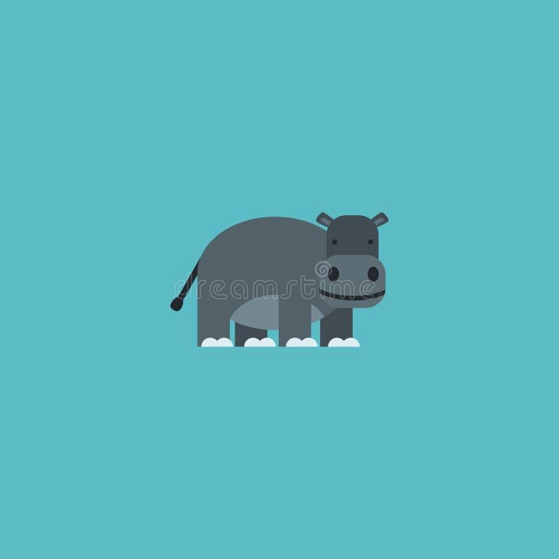 Élément plat d'hippopotame d'icône Illustration de vecteur de l'hippopotame plat d'icône d'isolement sur le fond propre Peut être image libre de droits
