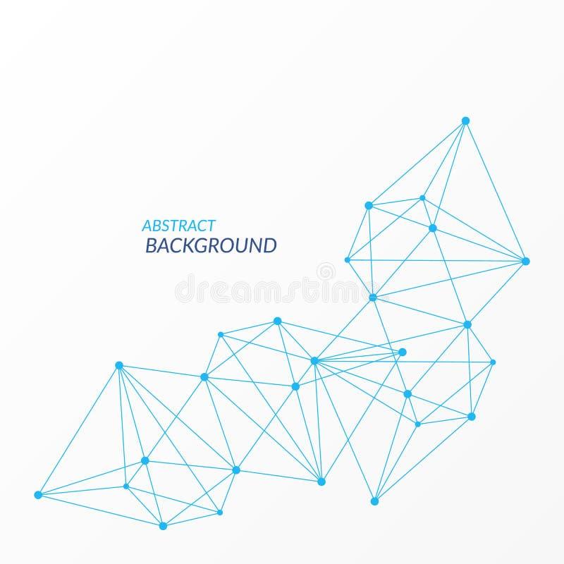 Élément polygonal de vecteur de résumé Modèle bleu de triangle de réseau Lignes et fond de cercles pour le Web, net, neural, la s illustration libre de droits