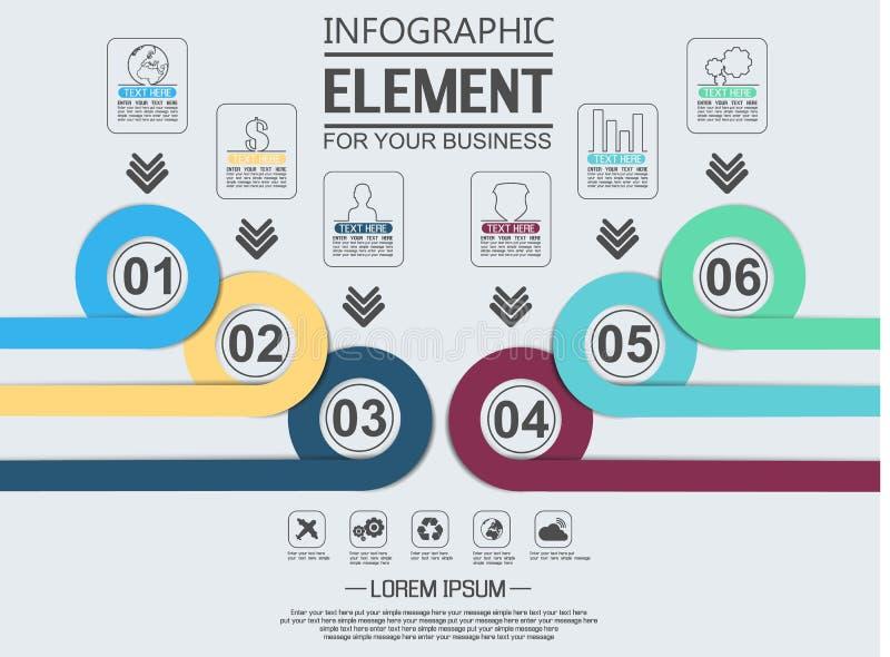 Élément pour le chiffre géométrique cercles de recouvrement de calibre infographic de diagramme illustration stock
