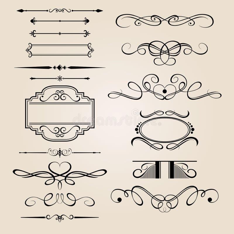 Élément réglé de conception de cadre de vecteur illustration stock