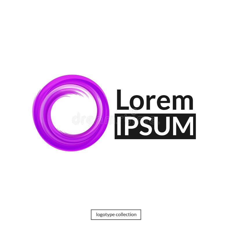 Élément rond abstrait pour la conception Calibre pourpre de logo de cercle illustration stock