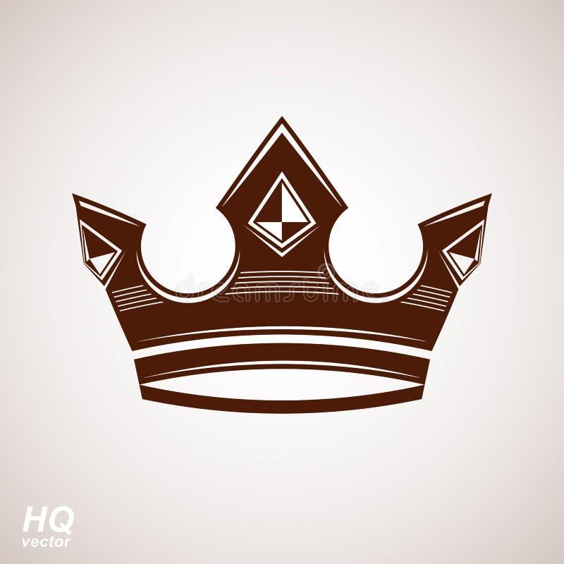 Élément royal de conception, icône majestueuse Dirigez la couronne majestueuse, illustration de couronne stylisée par luxe illustration libre de droits
