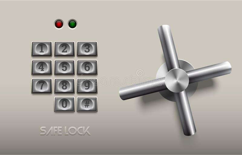 Élément sûr réaliste en métal de serrure sur le fond blanc Roue d'acier inoxydable Élément d'icône ou de conception de vecteur Bo illustration libre de droits