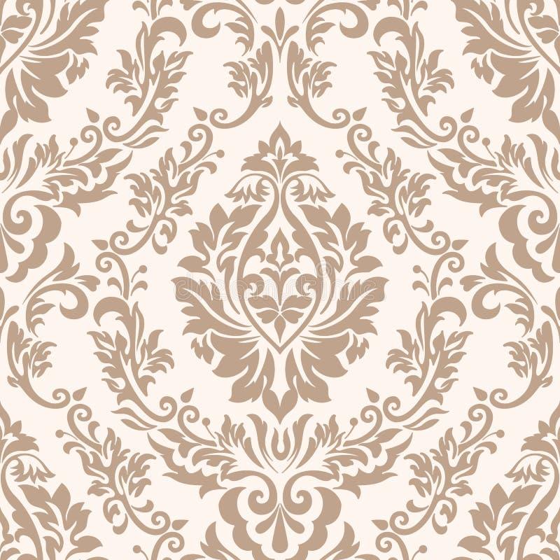 Élément sans couture de modèle de damassé de vecteur Ornement démodé de luxe classique de damassé, texture sans couture de victor illustration de vecteur
