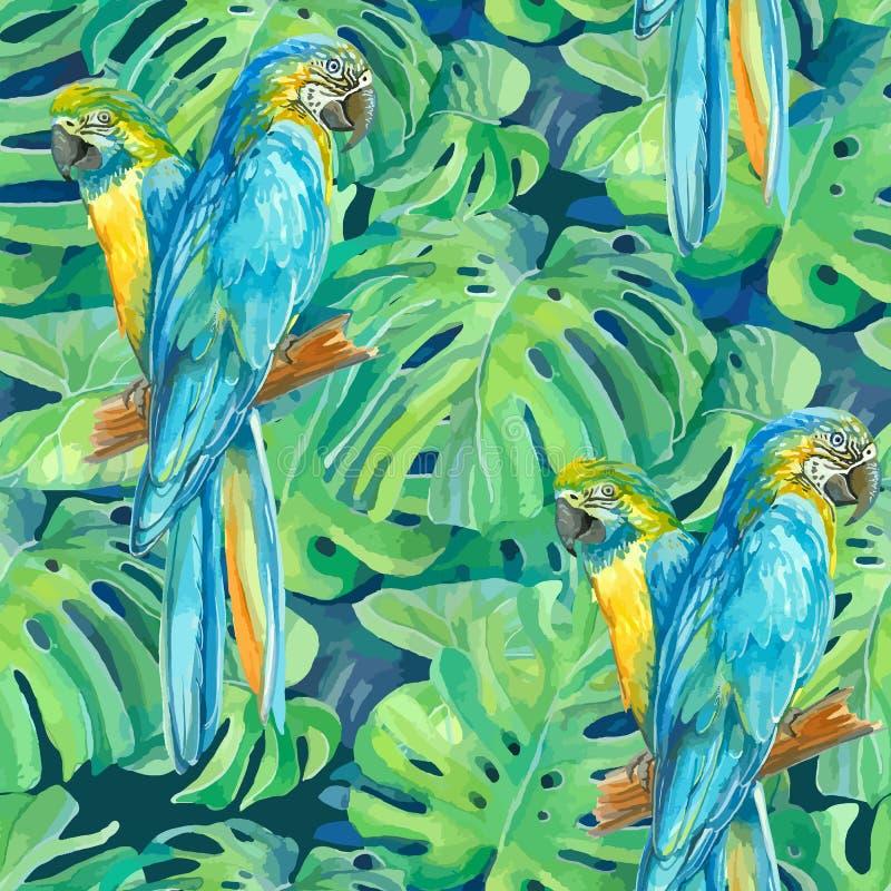 Élément sans couture de modèle de deux perroquets d'arums et photos stock