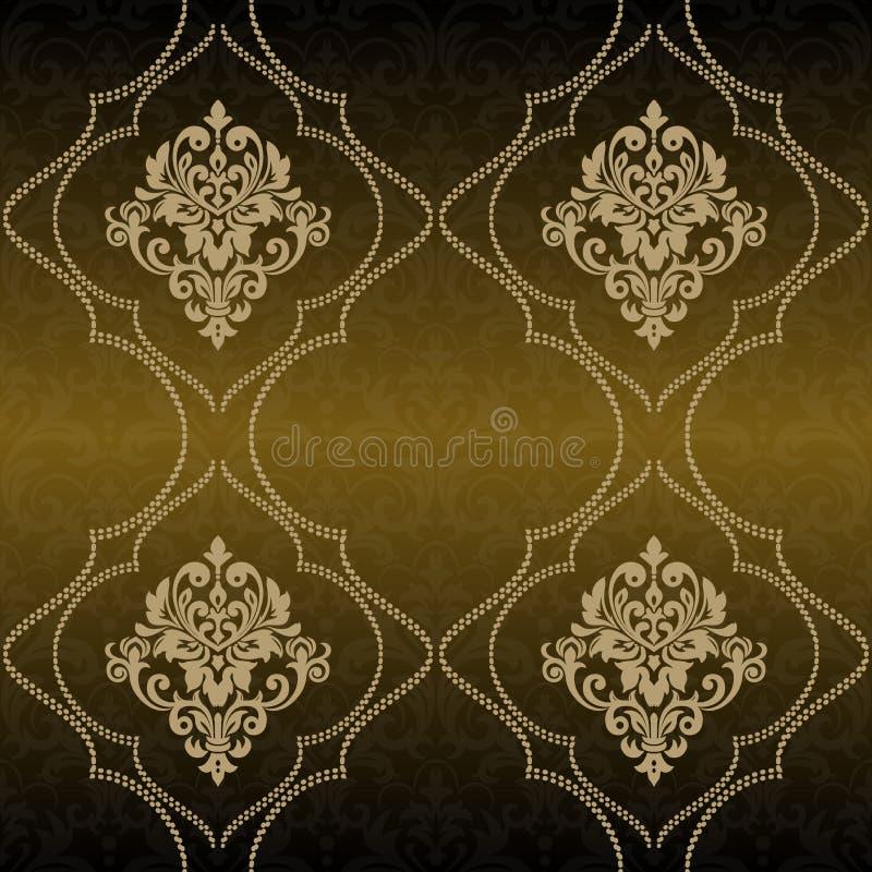 Élément sans joint floral de configuration de cru de vecteur Se de damassé de vecteur illustration de vecteur