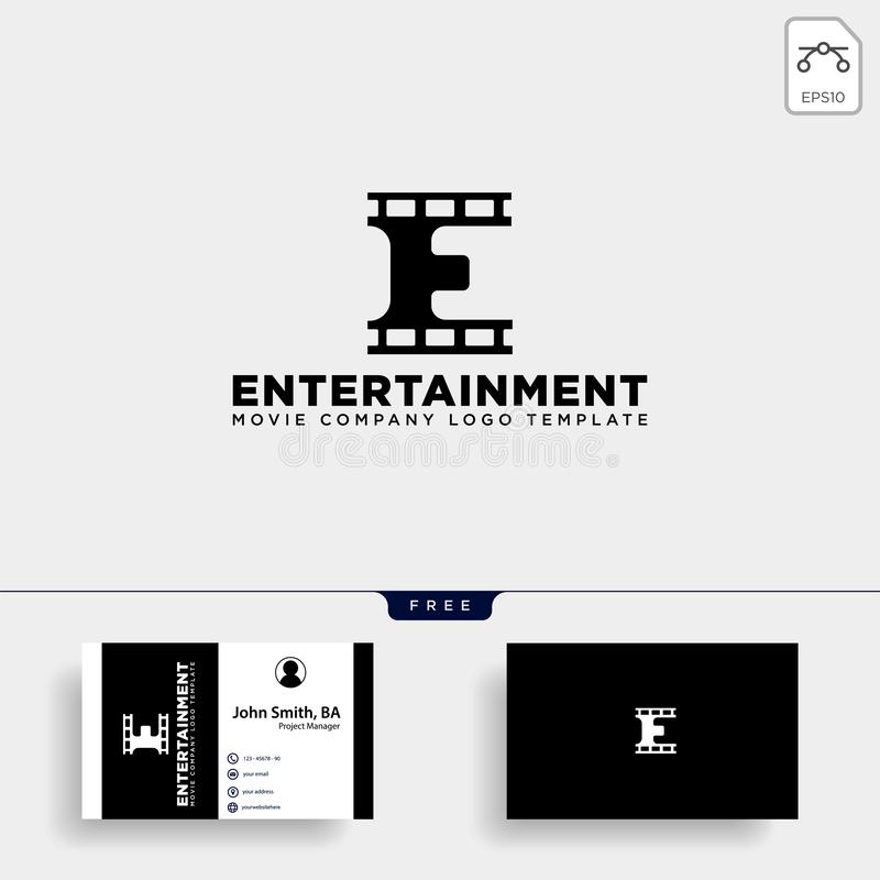 élément simple d'icône d'illustration de vecteur de calibre de logo de cinéma minimal de la lettre E illustration stock