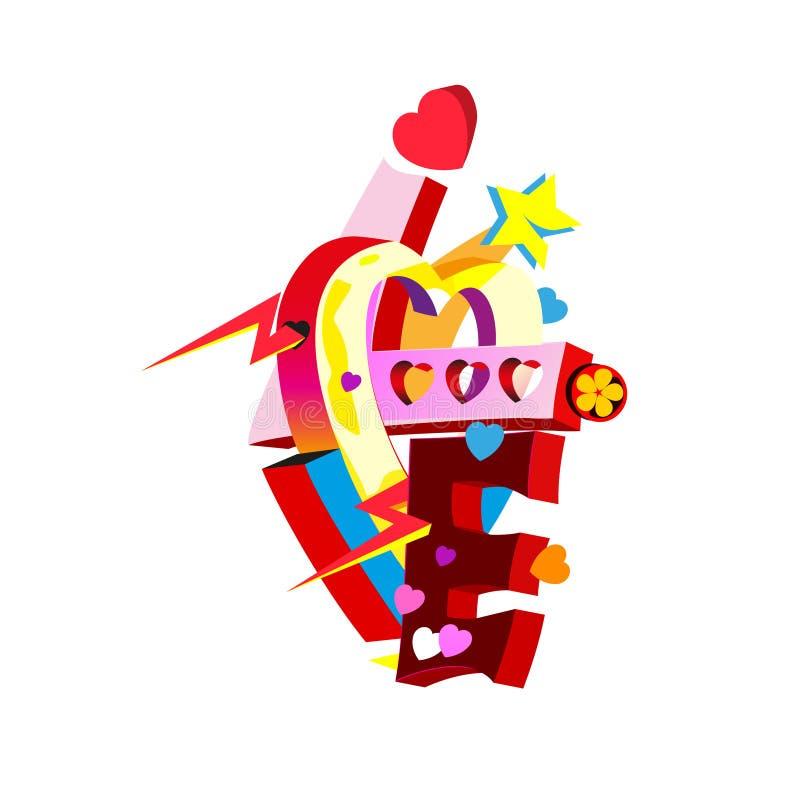 Élément urbain de conception de graffiti Mot d'amour, art de vecteur illustration de vecteur