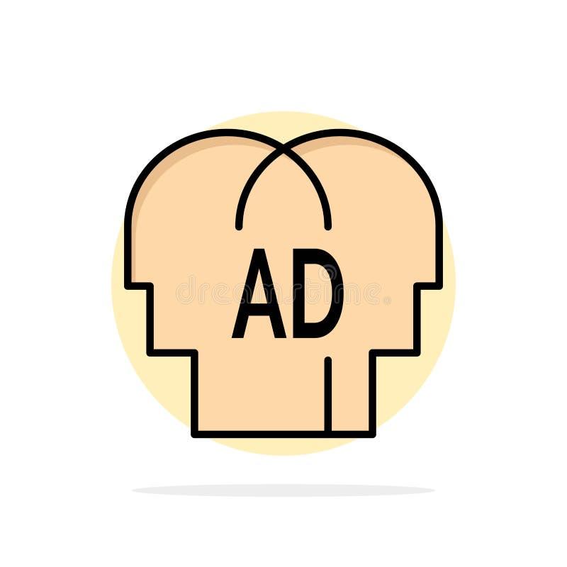 Élémentaire, la connaissance, ABC, icône de couleur de Brian Abstract Circle Background Flat illustration stock