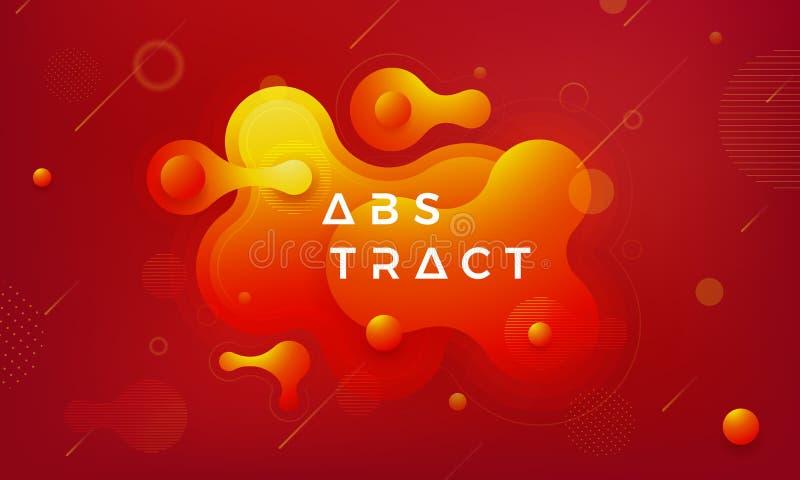 Éléments à la mode de conception de gradient liquide et hydraulique Orange abstraite, fond liquide rouge illustration de vecteur