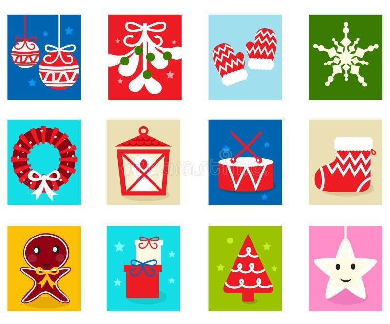 Éléments 1 de calendrier d'arrivée de Noël illustration libre de droits