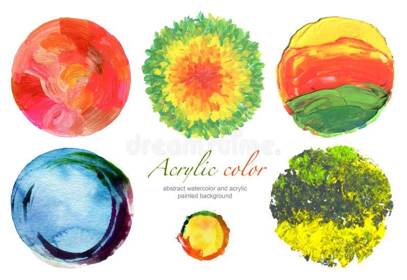 Éléments abstraits d'acrylique de cercle et de conception d'aquarelle illustration de vecteur