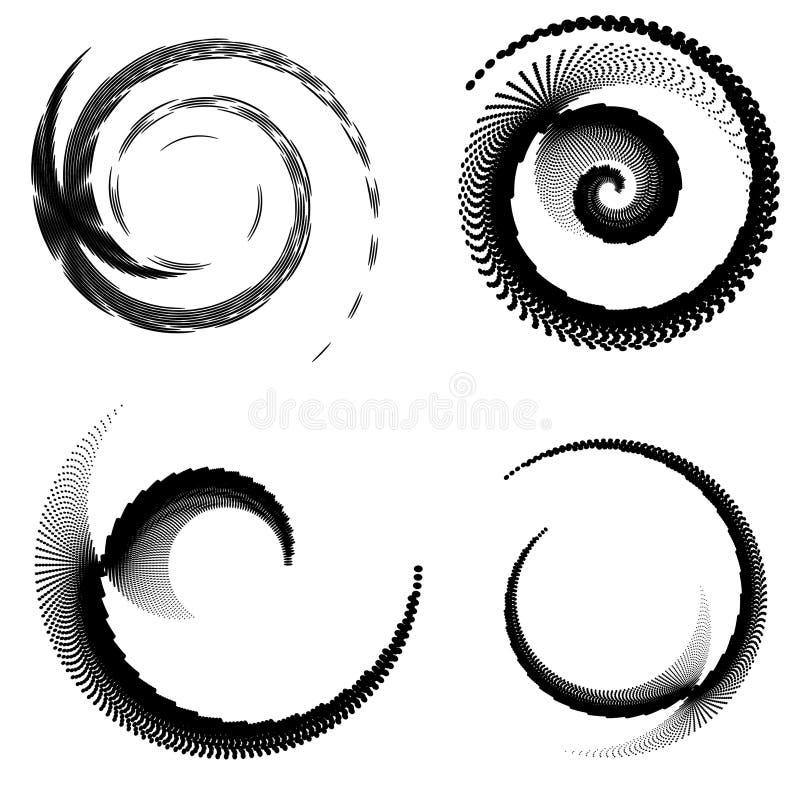 Éléments abstraits de spirale de vecteur, modèles rayés géométriques radiaux illustration de vecteur