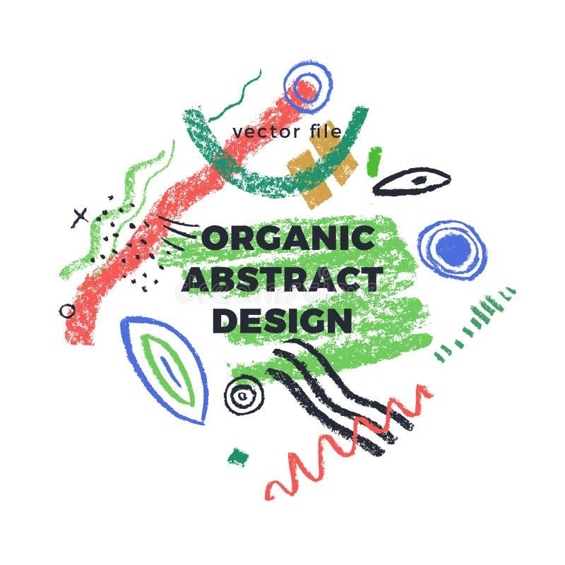 Éléments abstraits organiques avec icônes vectorielles, modèles de logo de la nature, éléments dessinés à la main en coule illustration stock