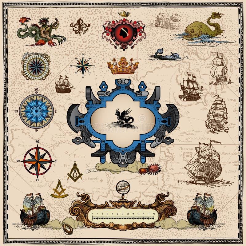 Éléments antiques de carte illustration libre de droits