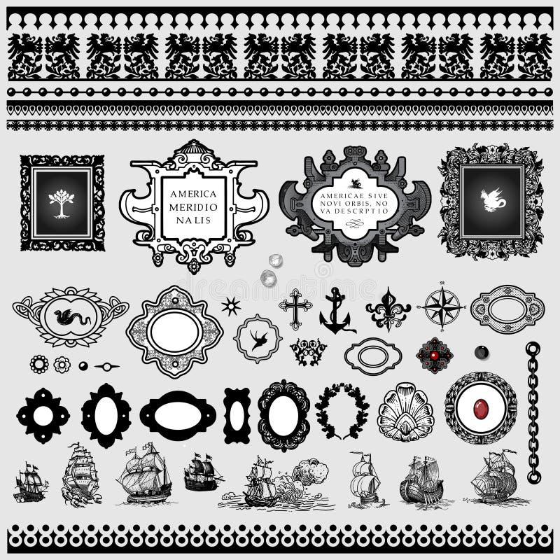 Éléments antiques de carte illustration de vecteur
