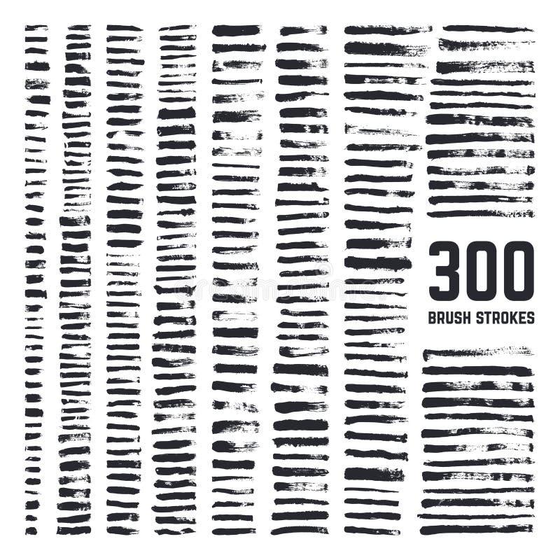 Éléments artistiques grunges de brosse Brosses sales de noir à main levée de texture et grande collection de vecteur de courses a illustration libre de droits