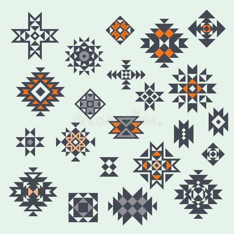 Éléments aztèques de conception de style de vecteur illustration libre de droits