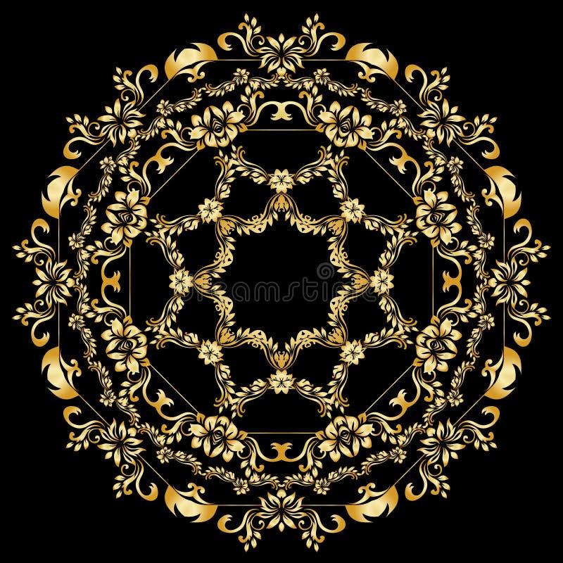 Éléments calligraphiques d'or de conception de vecteur sur le fond noir Frontière de menu et d'invitation d'or, cadre rond, divis illustration stock