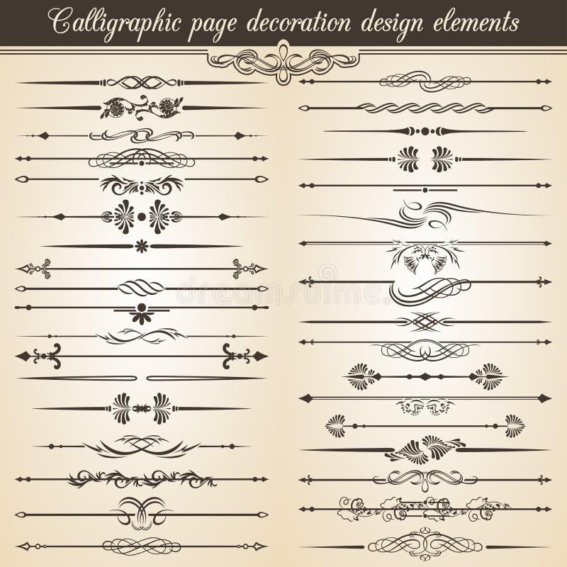 Éléments calligraphiques de conception de décoration de page de vintage Décoration des textes d'invitation de carte de vecteur illustration stock