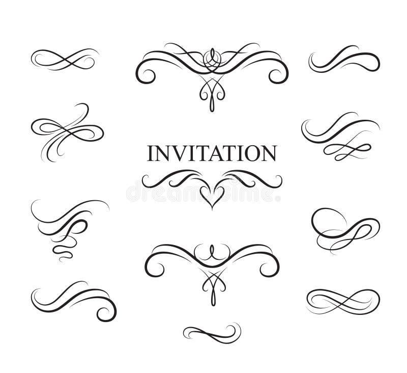 Éléments calligraphiques de conception de flourish Décoration Han de page dessiné illustration de vecteur
