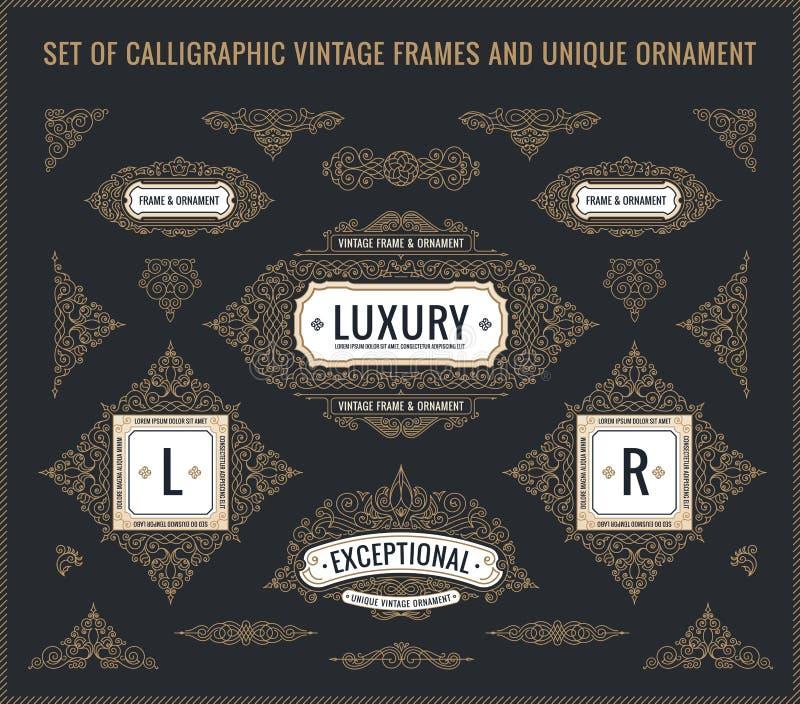 Éléments calligraphiques de conception de vecteur Logo et cadres de Flourishes de vintage rétro réglés illustration libre de droits