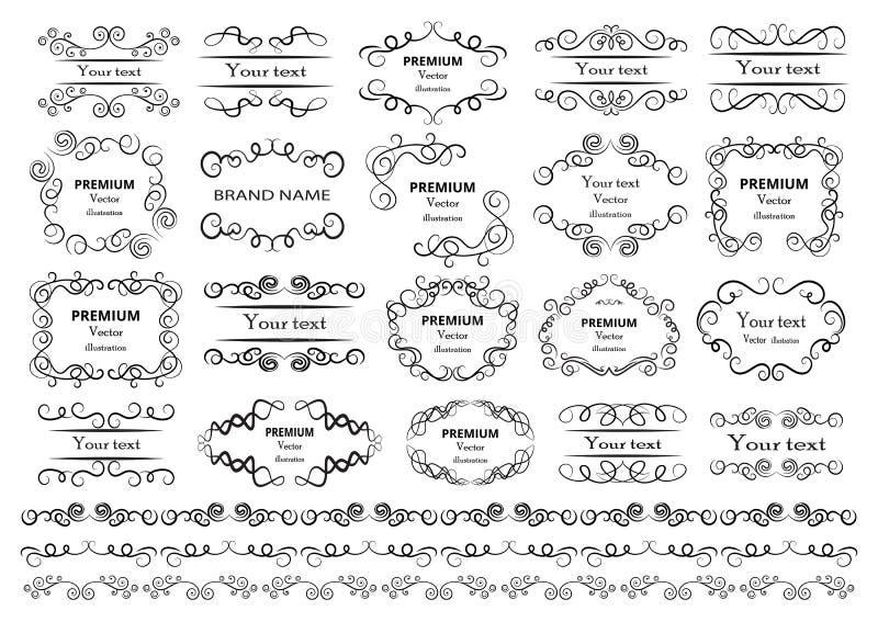 Éléments calligraphiques de conception Les remous décoratifs ou les rouleaux, vintage encadre, des flourishes, des labels et des  illustration libre de droits