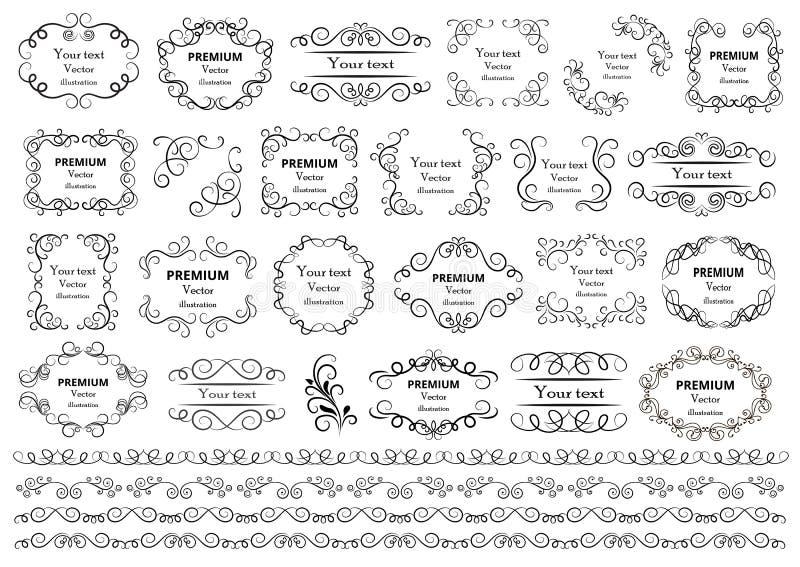 Éléments calligraphiques de conception Les remous décoratifs ou les rouleaux, vintage encadre, des flourishes, des labels et des  illustration stock