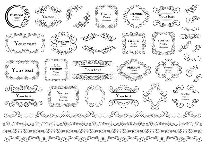Éléments calligraphiques de conception Les remous décoratifs ou les rouleaux, vintage encadre, des flourishes, des labels et des  illustration de vecteur