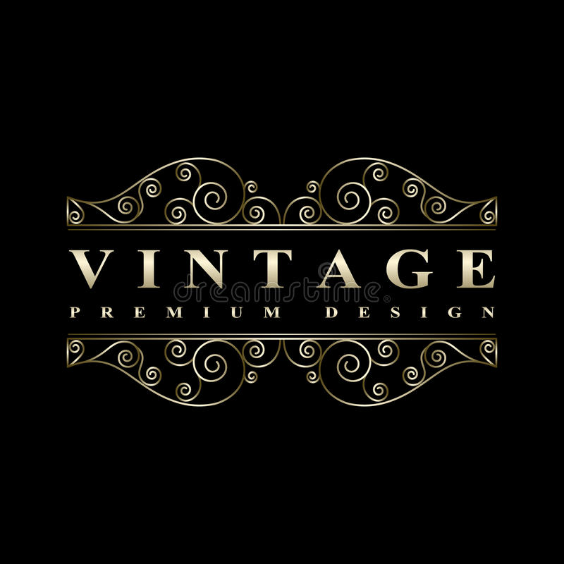 Éléments calligraphiques de luxe de conception de vintage avec des flourishes illustration stock