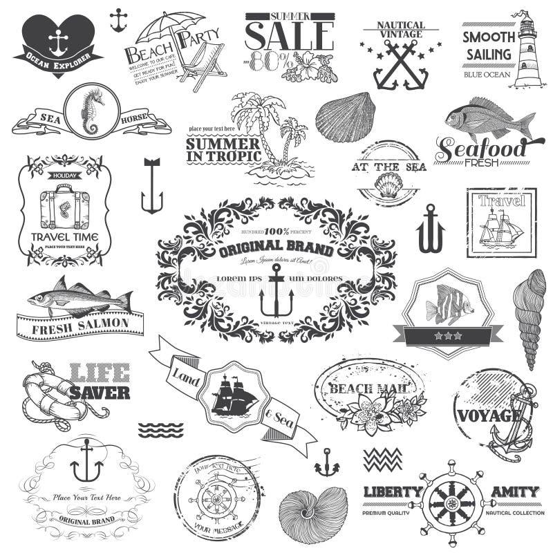 Éléments calligraphiques de mer nautique illustration de vecteur