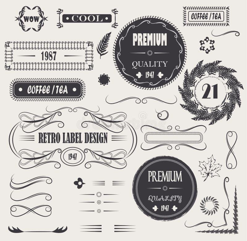 Éléments calligraphiques réglés de conception de vecteur de vintage, qualité de décor de page, conception de feuille et cadres de illustration libre de droits