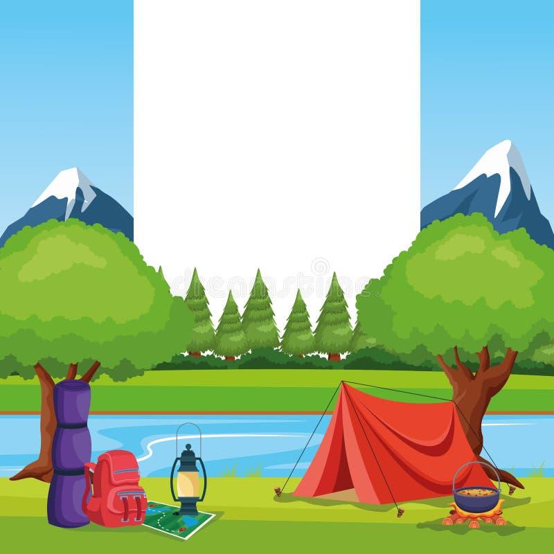 Éléments campants dans un paysage rural illustration de vecteur
