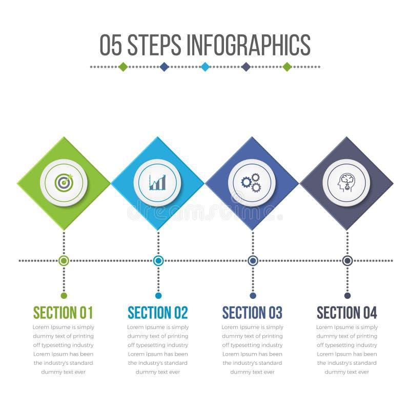 Éléments carrés diagonaux d'Infographics avec 04 étapes illustration libre de droits