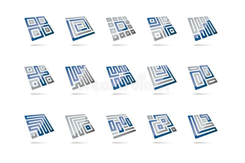 Éléments carrés tridimensionnels abstraits 1 illustration stock