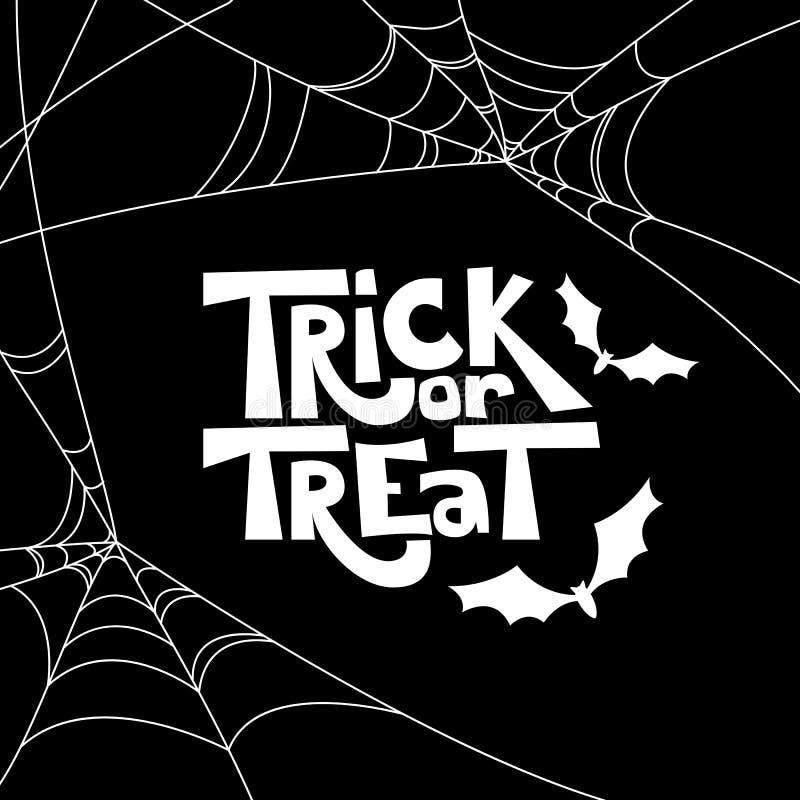 Éléments citation et de conception de Halloween d'isolement par des bonbons ou un sort Illustration noire et blanche de vacances  illustration stock