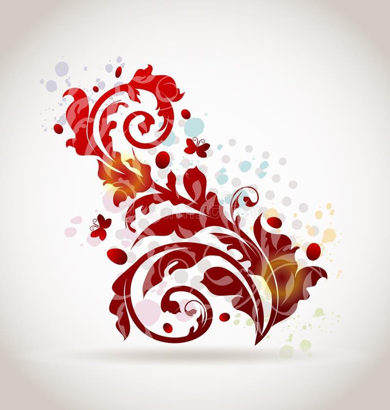 Éléments colorés ornementaux floraux de conception illustration libre de droits