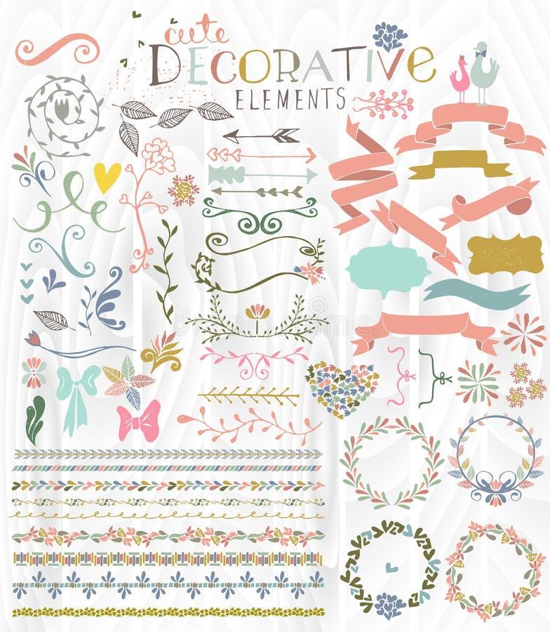 Éléments décoratifs élégants mignons illustration stock