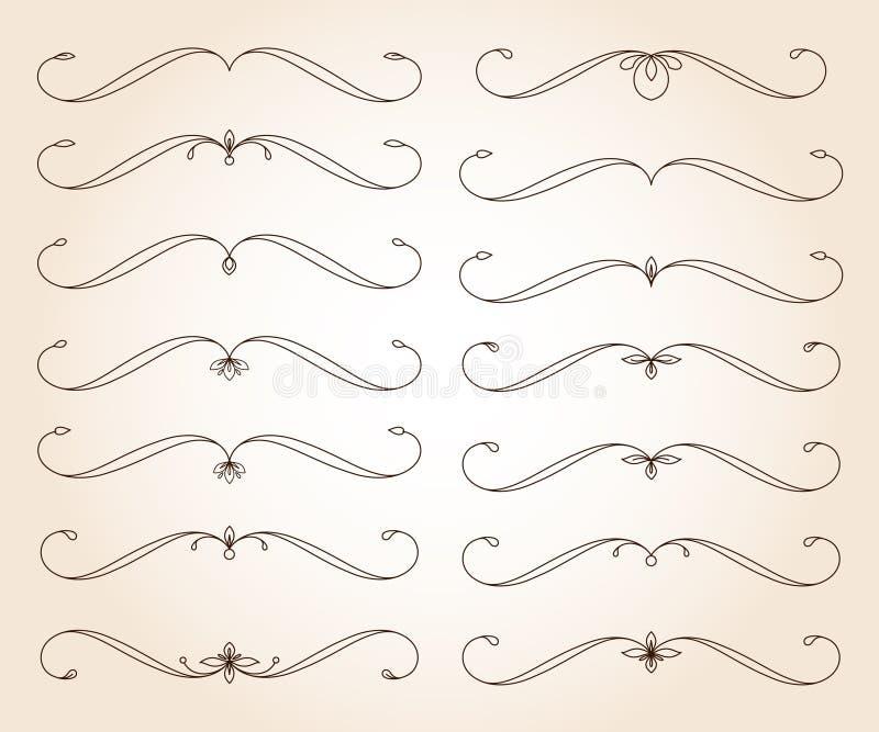 Éléments décoratifs élégants réglés de rouleau Vecteur Illustration de vecteur brun illustration stock