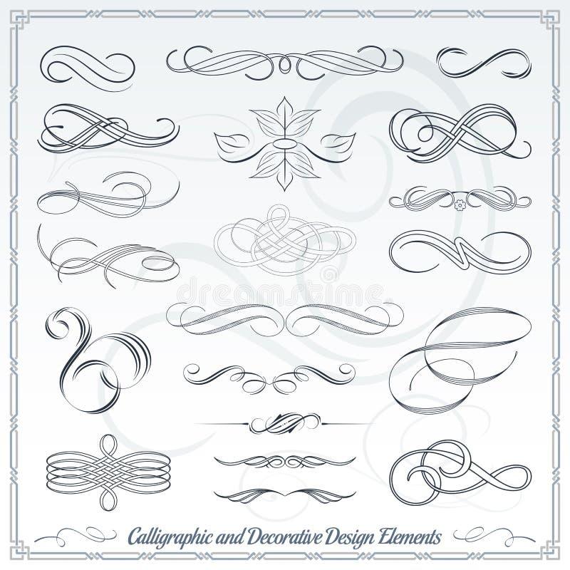 Éléments décoratifs calligraphiques de conception illustration libre de droits