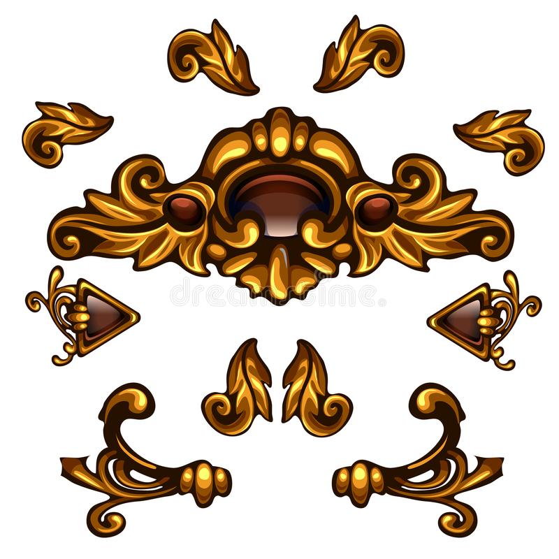 Éléments décoratifs d'or, boucles florales, flèches, modèles de volume illustration de vecteur