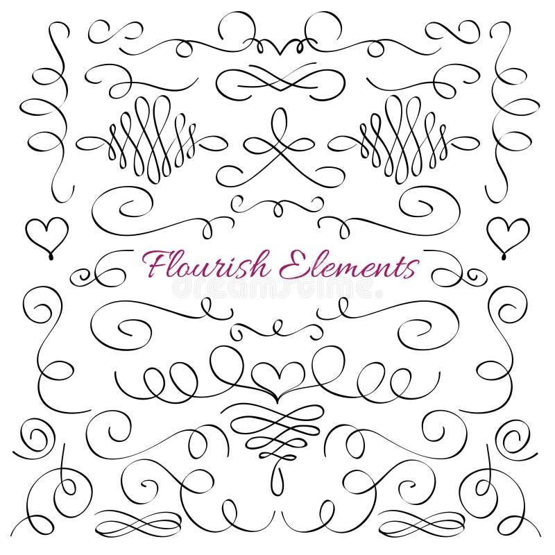 Éléments décoratifs de flourish élégant classique Ligne calligraphique royale collection de remous de vecteur illustration stock