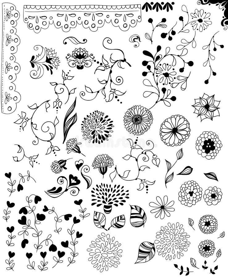 Éléments décoratifs tirés par la main pour la conception illustration stock