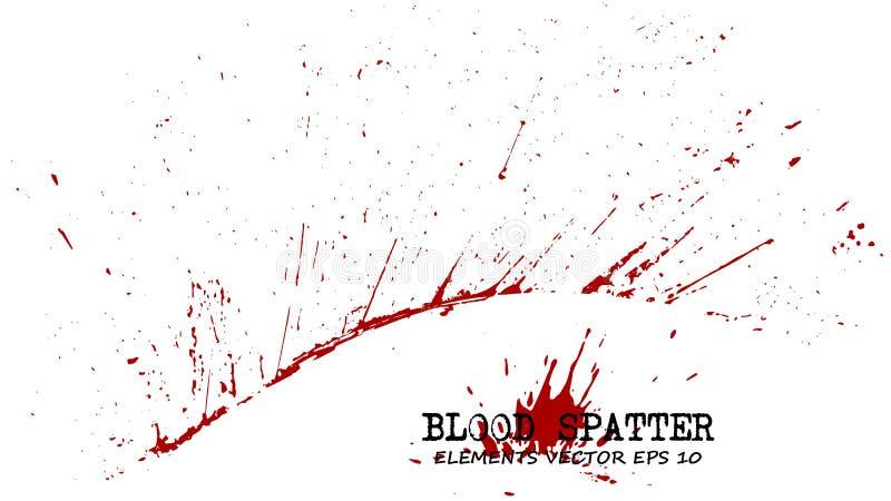 Éléments d'éclaboussure de sang sur le fond blanc Concept criminel Vecteur illustration libre de droits