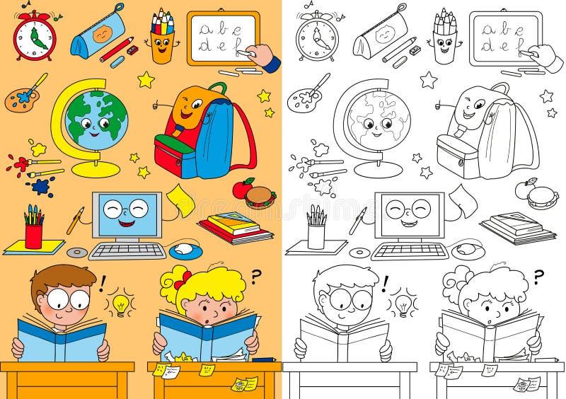 Éléments D école De Coloration Pour De Petits Enfants Images libres de droits