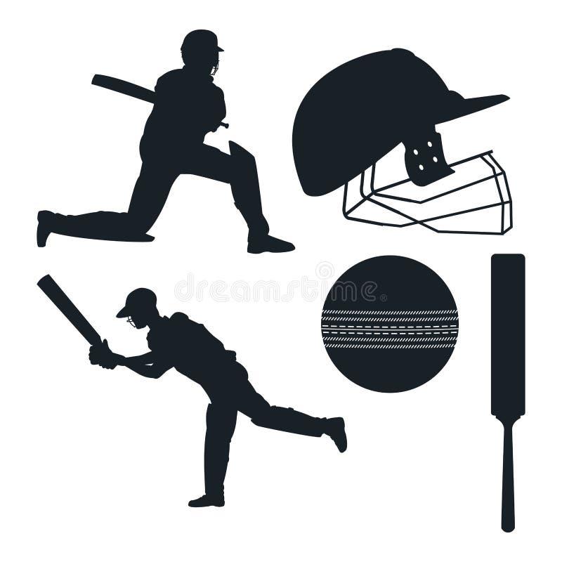 Éléments d'équipement de crickets illustration libre de droits