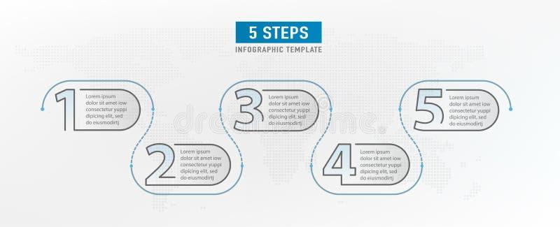 5 éléments d'étape Conception graphique de déroulement des opérations Chronologie d'Infograph Diagramme de travail de stratégie D illustration libre de droits